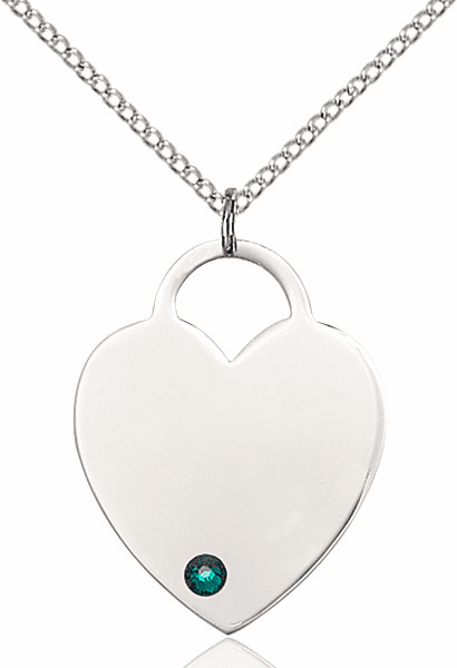 Large Birthstone Crystal May Emerald Heart Necklace by Bliss