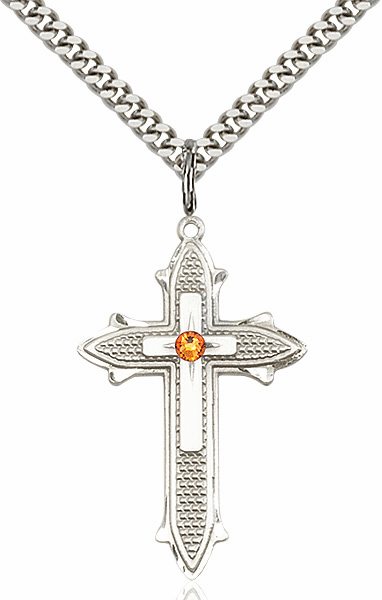 Large Birthstone Crystal November Topaz Double Detailed Fancy Cross Necklace by Bliss