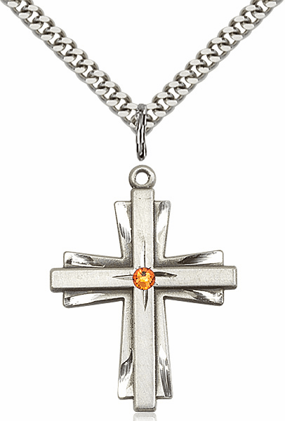 Large Birthstone Crystal November Topaz Double Etched Cross Necklace by Bliss