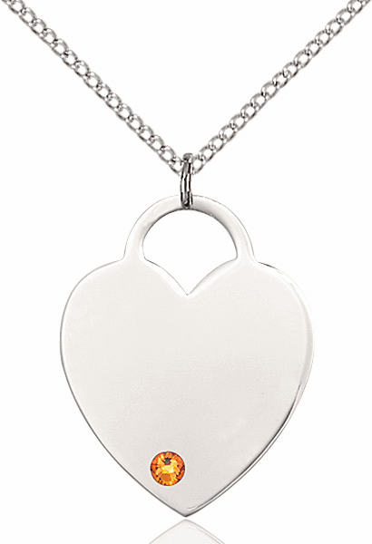 Large Birthstone Crystal November Topaz Heart Necklace by Bliss
