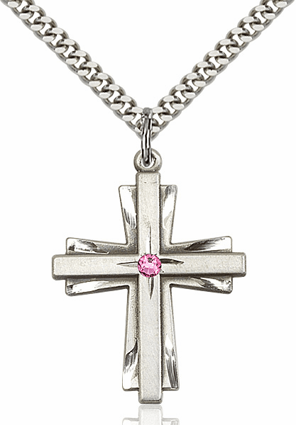 Large Birthstone Crystal October Rose Double Etched Cross Necklace by Bliss