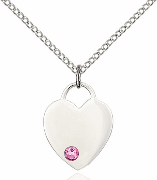 Large Birthstone Crystal October Rose Heart Necklace by Bliss