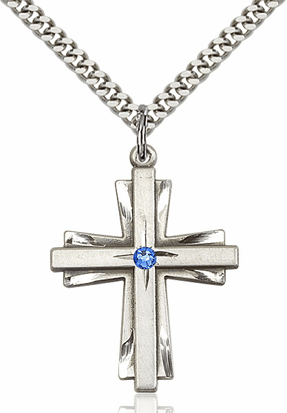 Large Birthstone Crystal September Sapphire Double Etched Cross Necklace by Bliss