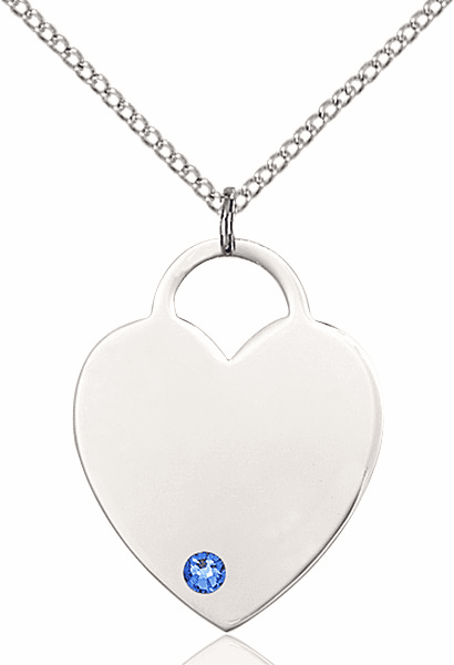 Large Birthstone Crystal September Sapphire Heart Necklace by Bliss
