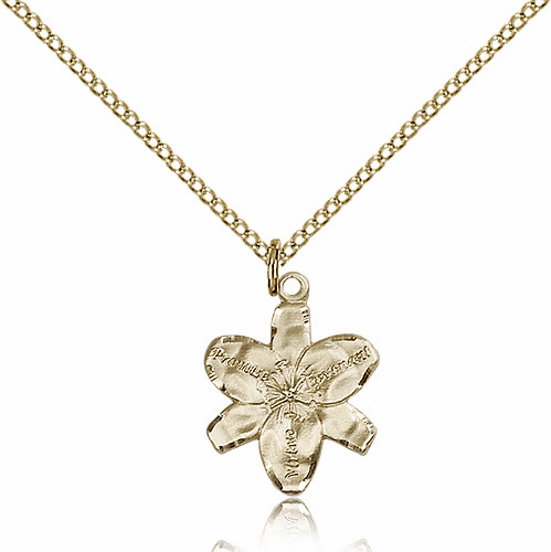 Large Chastity Virtue Flower 14kt Gold-Filled Pendant Necklace with Chain by Bliss