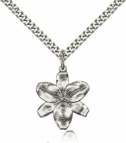 Large Chastity Virtue Flower Sterling Silver Pendant Necklace by Bliss