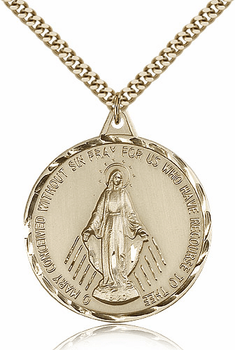 Large Gold Filled Miraculous Medal Pendant Necklace by Bliss