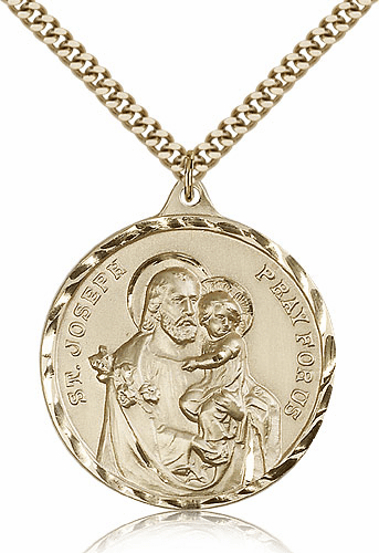 Large Gold Filled St Joseph Patron Saint Medal Pendant by Bliss