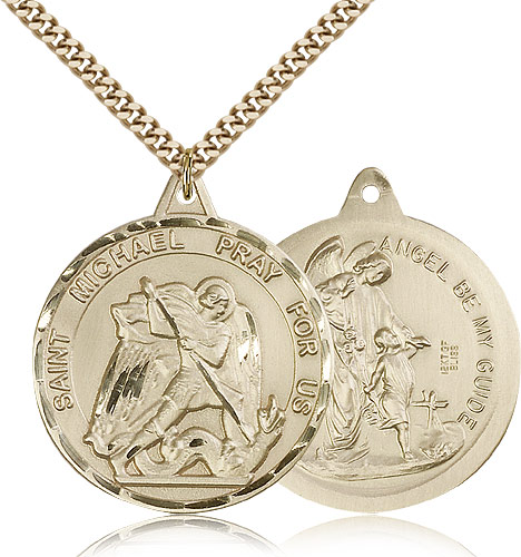 Sebastian Patron Saint of Athletes//Soldiers 14kt Gold Filled St Motorcycle Pendant with 18 Gold Filled Lite Curb Chain