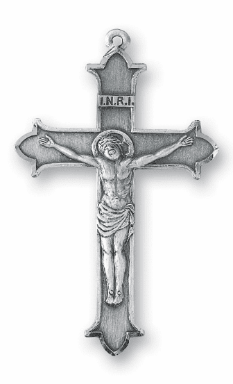 Large INRI with Crown Tips Sterling Silver Crucifix Rosary Part by HMH Religious