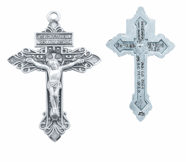 Large Ornate Pardon Sterling Silver Crucifix Rosary Part by HMH Religious