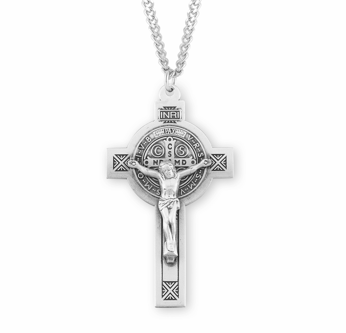 Large Ornate St Benedict Jubilee Sterling Silver Crucifix Necklace by HMH Religious