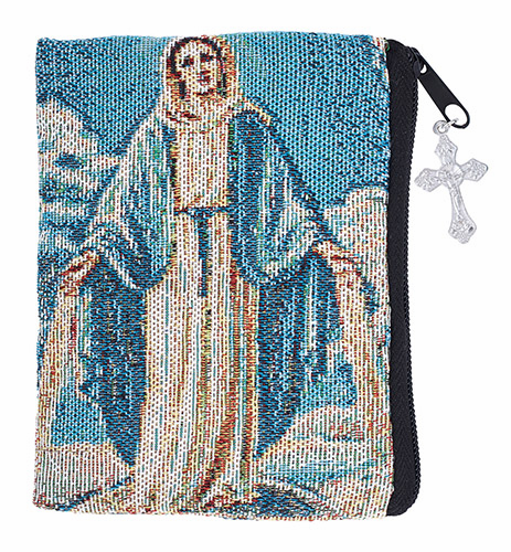 Large Our Lady of Grace Tapestry Rosary Zipper Case