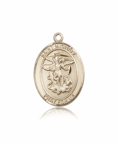 Large Oval 14kt Gold St Michael the Archangel Medals