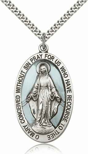 Large Oval Enameled Miraculous Medal Necklace