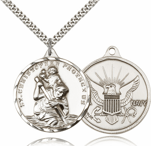 Large Pewter St Christopher US Navy Necklace by Bliss