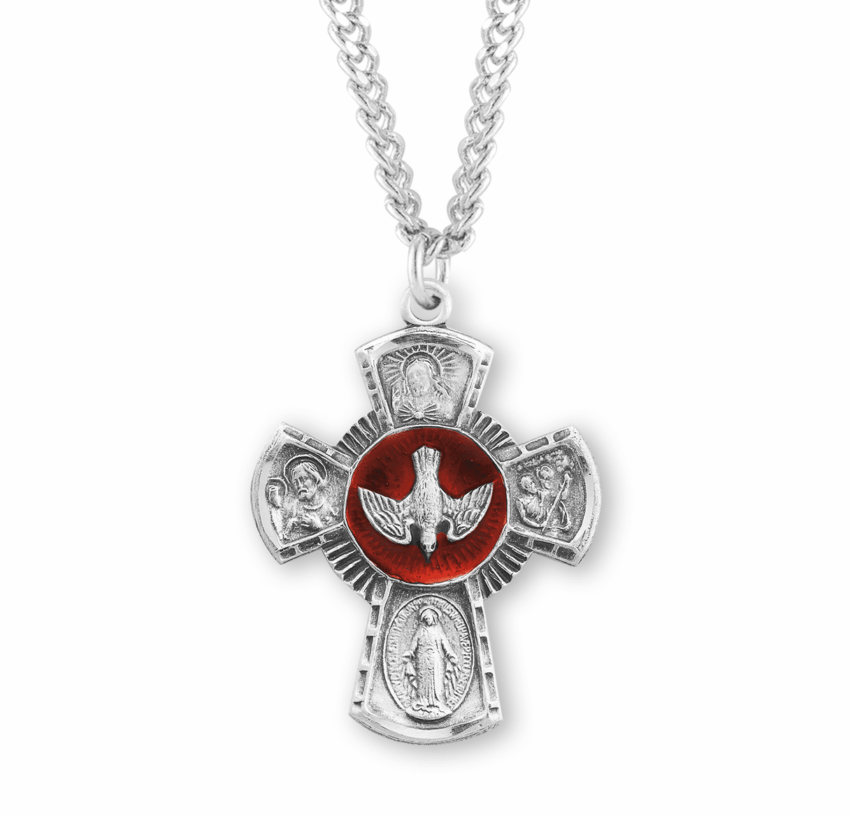 Large Red Holy Spirit Sterling Four-Way Medal Necklace by HMH Religious