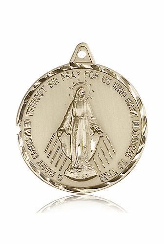 Large Round 14kt Gold Miraculous Medal by Bliss