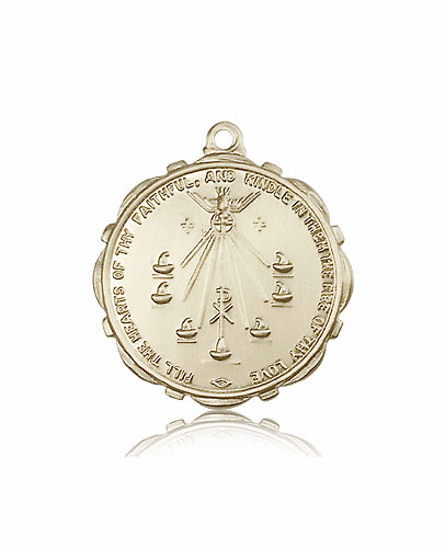 Large Round 14kt Gold Seven Gifts of the Holy Spirit Medal