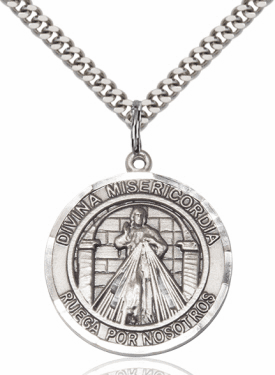 Bliss Round Divina Misericordia/Divine Mercy of Jesus & St Maria Faustina Sterling Necklace
