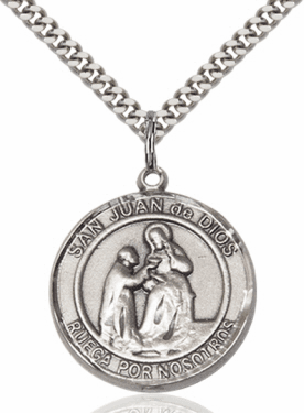 Large Round San Juan de Dios/St John of God Spanish Sterling Silver Medal Necklace by Bliss