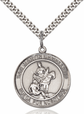 Large Round San Martin Caballero/St Martin of Tours is Spanish Sterling Medal Necklace by Bliss