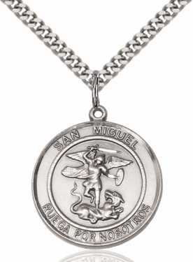 Large Round San Miguel Arcangel/St Michael Archangel Spanish Sterling Necklace by Bliss