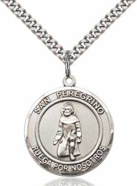 Large Round San Peregrino/St Peregrine Spanish Sterling Silver Medal Necklace by Bliss
