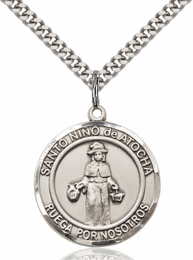 Large Round Santa Nino de Atocha Spanish Sterling Medal Necklace by Bliss