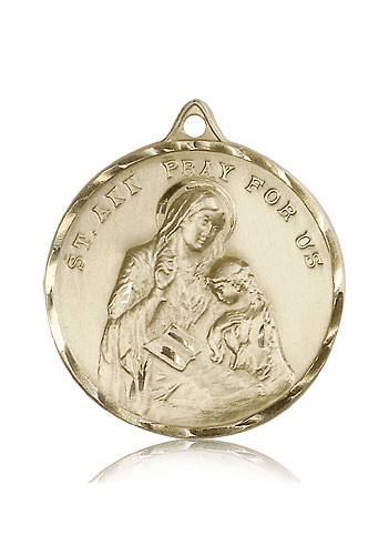 Large Round St Ann 14kt Gold Saint Medal by Bliss