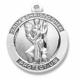 Large Round St. Christopher Medal Necklace by HMH Religious