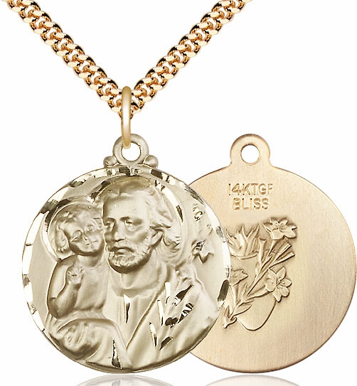 Large Round St Joseph w/Lilies and Baby Jesus Medal by Bliss Manufacturing