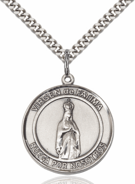 Large Round Virgen de Fatima/Our Lady of Fatima Spanish Sterling Medal Necklace by Bliss