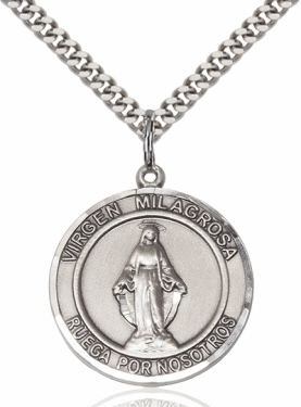 Large Round Virgen Milagrosa/Our Lady of Miraculous Medal Spanish Sterling Necklace by Bliss