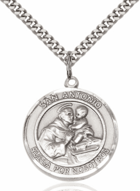 Large San Antonio/St Anthony Spanish Sterling Silver Medal Necklace by Bliss