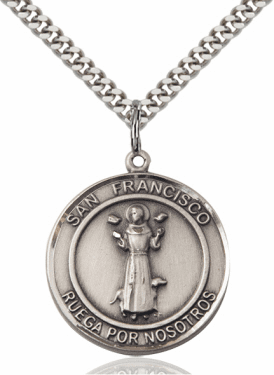 Large San Francisco/St Francis Spanish Sterling Medal Necklace by Bliss