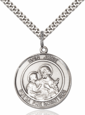 Large San Jose/St Joseph Spanish Sterling Silver Medal Necklace by Bliss