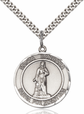 Large Santa Barbara/St Barbara Spanish Sterling Silver Medal Necklace by Bliss