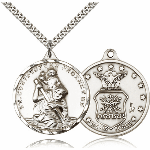 Large Silver-filled St Christopher US Navy Necklace by Bliss