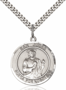 Large  Spanish Sterling Silver Medal Necklace by Bliss Manufacturing