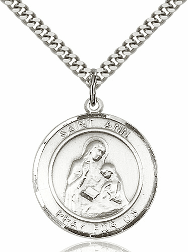 Large St Ann Silver-filled Medal Necklace by Bliss