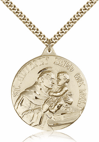 Large St Anthony Patron Saint of Poor Gold-Filled Pendant by Bliss