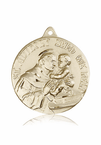 Large St Anthony Patron Saint of the Poor 14kt Gold Medal by Bliss