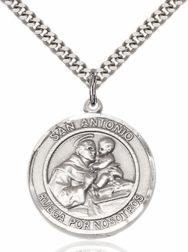 Large St Anthony Spanish San Antonio Pewter Medal Necklace by Bliss