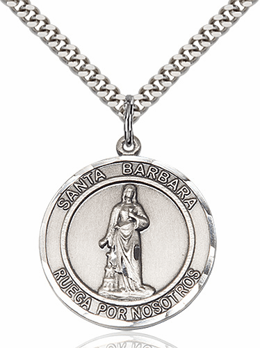Large St Barbara Spanish Silver-filled Medal Necklace by Bliss