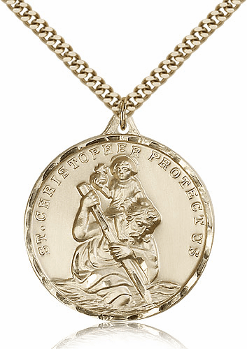 Large St Christopher Patron Saint Gold Filled Medal Pendant by Bliss