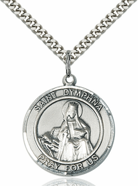 Large St Dymphna Silver-filled Medal Necklace by Bliss