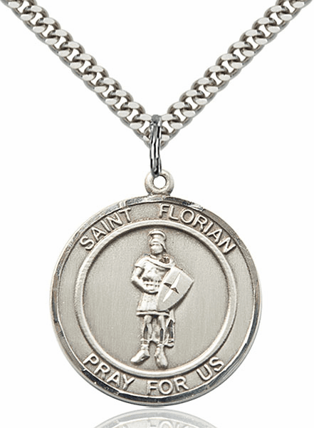 Large St Florian Pewter Medal Necklace by Bliss