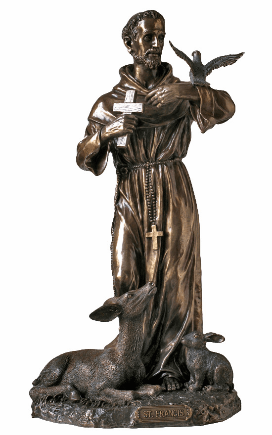 Large St Francis with Animals Patron Saint Cold Cast Bronze Statue by Veronese Collection