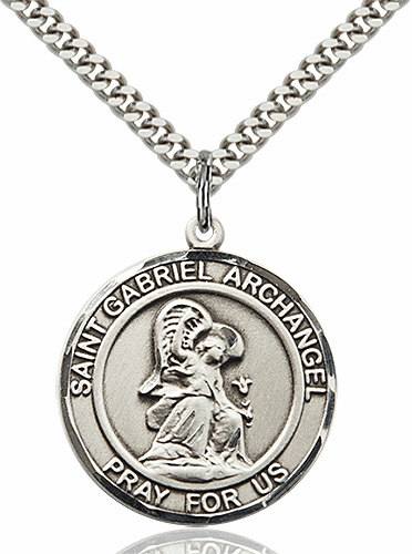 Large St Gabriel the Archangel Pewter Medal Necklace by Bliss